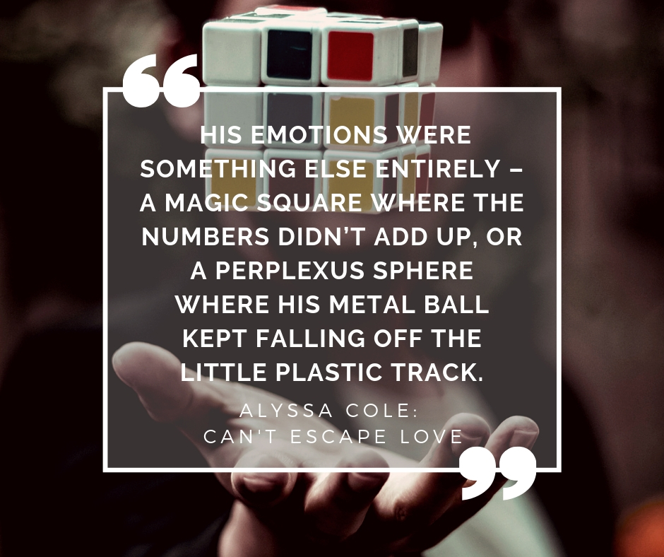 """His emotions were something else entirely – a magic square where the numbers didn't add up, or a Perplexus sphere where his metal ball kept falling off the little plastic track."""